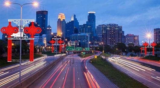 解说led发光中国结美丽而豪装的现代城市氛围